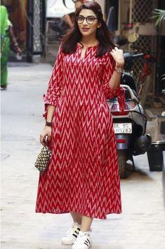 Best 12 Gulaal Women's Red Ikat Pleats Dress – SkillOfKing. Kalamkari Dresses, Ikkat Dresses, Maxi Dresses, Churidar Designs, Kurta Designs Women, Kurta Patterns, Dress Patterns, Dress Indian Style, Indian Wear