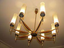 Midcentury 8 lights pendant lamp chandelier teak crystal, Eames Danish modern