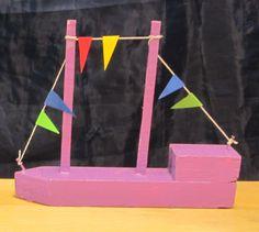 Laiva, 2 luokalla tehty puutyö. Työskentelyä puutyöluokassa 2 oppituntia.