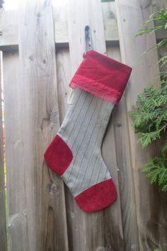 Bas de Noël fait à la main avec des tissus recyclés – Joyeux Noël de la ed8374b1a72
