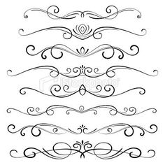 Decorative page dividers. Hi res jpeg included. Scroll down to see… Decorative Ornaments stock vector art 15428106 – iStock Dr Tattoo, Page Dividers, Quilled Creations, Scroll Design, Arabesque, Pyrography, Swirls, Design Elements, Design Design