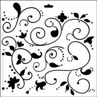 "Swirly Vines - 6"" x 6"" Crafter's Workshop Template (stencil).  Perfect for use with polymer clay, chalk, markers, craft paint and more! Made of easy to wide clean plastic. A variety of designs are available.  Check them out at Poly Clay Play!"