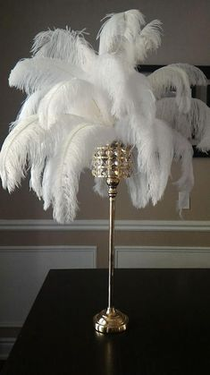 Tall Square Gold Crystal Globe Stand Ostrich Feather Centerpiece for Great Gatsby/Wedding/Old Hollywood/Glitz and Glam themes Ostrich Feather Centerpieces, Feather Lamp, Mardi Gras Centerpieces, Gold Centerpieces, Masquerade Centerpieces, Masquerade Party, Centerpiece Ideas, Hollywood Glamour Decor, Hollywood Bedroom