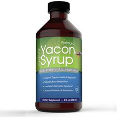 nice Epicura Pure Yacon Syrup - Natural Appetite Suppressant and Weight Loss Supplement - Low Calorie Sugar and Sweetener Substitute - 8 Fl Oz