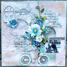A DT-layout made for Dusty Attic. I fell in love with the Dusty Attic Bicycle the minute I saw it, but I have not found the right layout to use it on, until now! I have scrapped about my darling daughter and her cousin when they played in our Mixed Media Scrapbooking, Digital Scrapbooking Layouts, Scrapbook Page Layouts, Scrapbook Albums, Scrapbook Cards, Smash Book Pages, Flower Collage, Shabby Chic Cards, Mixed Media Canvas