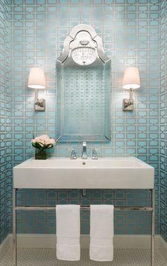 powder bathroom farmhouse vanity modern mirror decor french wall rooms decorating laundry