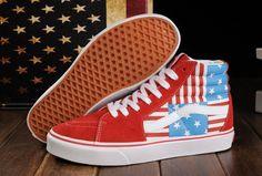 Limited Edition Red Vans American FLag Beckham SK8 Hi Skateboard Shoes Vans  Limited Edition 5d335fdec0cb