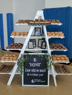 Donut display at my nieces wedding. There were 29 dozen donuts displayed for the wedding guests.Wedding Table Decorations - Creating the Wow For Your Wedding Table - Put the Ring on It Wedding Donuts, Wedding Cupcakes, Wedding Desserts, Wedding Decorations, Donut Wedding Cake, Table Decorations, Brunch Wedding, Fall Wedding, Rustic Wedding