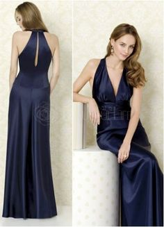 Gorgeous Royal Blue Satin Halter A-Line Evening Dress#dress