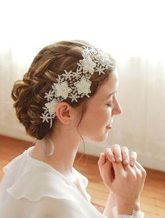 Lace wedding headband bridal headband wedding by woomeeBridal