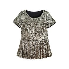 Sequin Peplum Top ($56) ❤ liked on Polyvore featuring tops, short sleeve peplum top, gold top, going out tops, brown tops and sequin peplum top