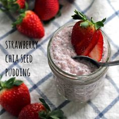 Strawberry Chia Seed Pudding | With a taste similar to strawberry ice cream and tapioca pudding, this easy, delicious recipe uses no refined sugars and has a ton of health benefits from the chia seeds!