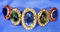 Multicolored Bracelet with Blue Sapphire,Tourmaline,Chrysoberyl and Sardonyx. Iranian crown jewels
