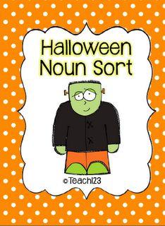 Halloween Noun Sort   FREE noun sort printables $0 at Teach123