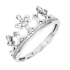 925 Sterling Silver Diamond Fleur De Lis Crown Ring - (J,I3,0.108cttw)