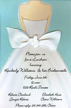 Here Comes The Bride Wedding Shower Invitation With Ribbon