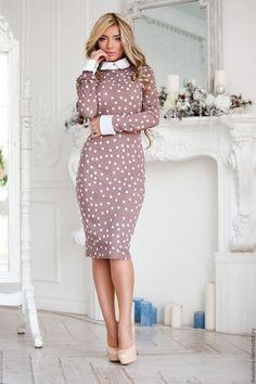 """Купить Платье """"Пудра"""" - бежевый, в горошек, бежевое платье, платье в горошек, платье в офис"""