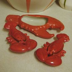 Vintage Lobster Salt & Pepper and Butter Dish Salt Pepper Shakers, Salt And Pepper, Rock Lobster, Gravy Boats, Crab Shack, Lobsters, Whales, Vintage Ceramic, Butter Dish