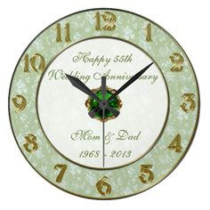Damask 55th Wedding Anniversary Clock Gifts