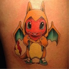 'Pokemon' is a Japanese anime television series which were a part of many people's lives, especially childhood. Now after a lot of years, Pokemon is still Charmander Tattoo, Pokemon Tattoo, Tattoos Skull, Bad Tattoos, Body Art Tattoos, Small Tattoos, Tatoos, Color Tattoos, Pokemon Eevee