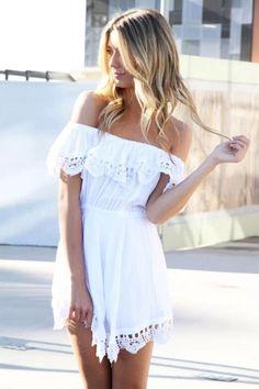 Off-Shoulder Lace-Trim Mini Dress