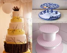 Vintage Cake stands, use old vases and plates together
