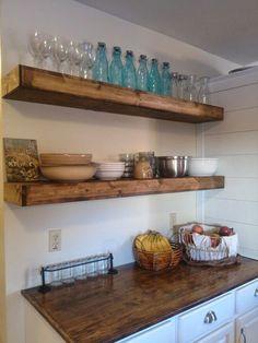 Wood Floating Shelves | Rustic Shelf | Farmhouse Shelf | Floating Shelf | Reclaimed Wood Floating Shelf | Handmade Shelf | Wood Wall Shelf by iirntree on Etsy https://www.etsy.com/listing/290868807/wood-floating-shelves-rustic-shelf
