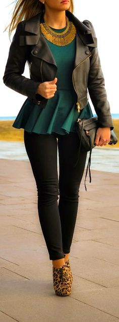 Stylish outfits jacket, blouse, skinny pant and leopard shoes