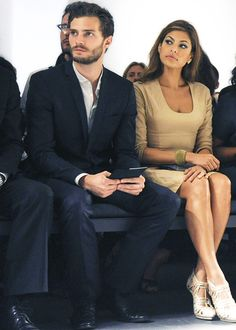 Eva Mendes and Jamie Dornan at Calvin Klein Fashion Show, 2009. Photograph: Rex Features. Getty Images.