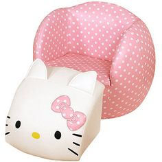 Your child will love the fun Hello Kitty design of this space saving kids chair and ottoman. Hello Kitty chair and ottoman. Style # at Lamps Plus. Hello Kitty Nursery, Hello Kitty Rooms, Hello Kitty House, Pink Hello Kitty, Here Kitty Kitty, Sanrio, Toddler Furniture, Princess Kitty, Kitty
