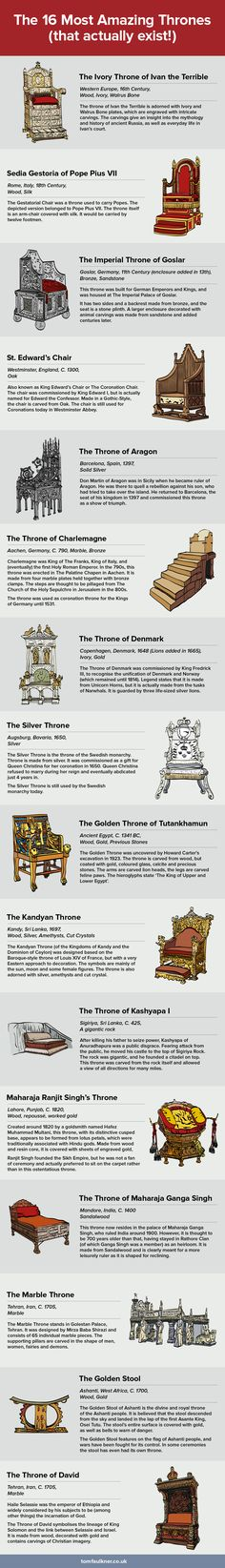 The 16 Most Amazing Thrones #Infographic #History #Thrones