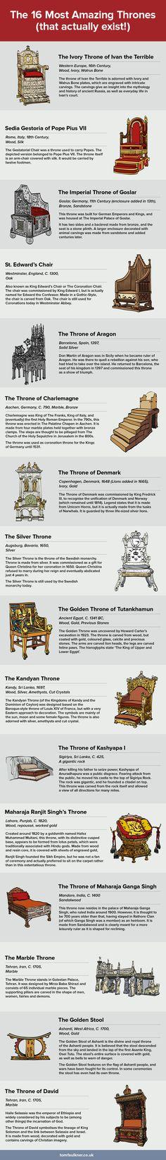The 16 Most Amazing Thrones #Infographic #History #Thrones