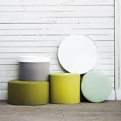 Nice colors on ottomans with trays from Softline, Denmark.
