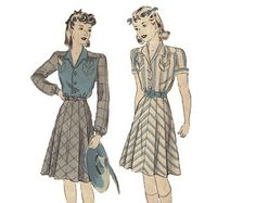 """These dress are of the style that influenced the Alexander McQueen collection highlighted at the bottom of this page. You can see the similarities in silhouette. The '40s was a time of growing independence for women as more and more entered the workplace during WW2. Frequently they used men's clothes to make their own to save fabric and """"make do and mend"""". Hence, strong shoulder lines and tailoring became frequent in women's wear."""
