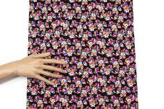 Purple Orange on Black Floral Knit Jersey Fabric by felinusfabrics