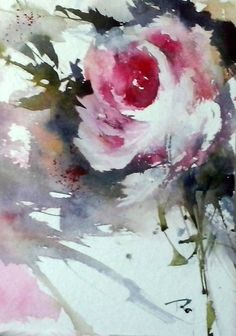 Watercolor rose Watercolor Rose, Watercolor Cards, Abstract Watercolor, Watercolour Painting, Watercolors, Watercolor Pictures, Rose Art, Abstract Flowers, Flower Art