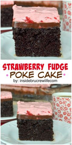 Chocolate cake with a strawberry topping and hot fudge makes this an amazing dessert.: