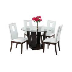 COMMODITY   Juego de Comedor / 001TCBETHANY / Madera  COMMODITY   Juego de Comedor / 001TCBETHANY / Madera   Mesa redonda de madera, top de vidrio, sillas de madera.