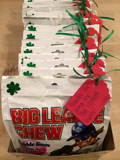 """""""Thanks for being my BIG LEAGUE buddy!"""" Party favors my St. Patrick's. """""""