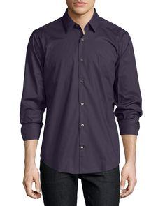 Vince Long-Sleeve Poplin Dress Shirt, Coastal Blue, Men's, Size: L, Coastal Bl