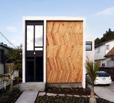 Herringbone pattern wood facade.