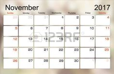 planejamento Vector calendário novembro 2017 planejador mensal. A semana começa no domingo. photo