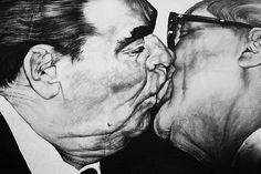 Brotherly Kiss, by Dmitri Vrubel. Soviet leader Leonid Brezhnev kissing his East German counterpart Erich Honecker, on the Berlin wall, East Side Gallery. University Of Greenwich, Berlin Photos, East Side Gallery, Brick In The Wall, Kiss Art, Berlin Wall, Photo Journal, Urban Life, Banksy