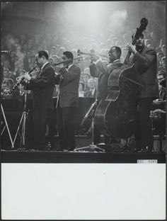 1959. Night concert by Louis Armstrong All Stars in the Concertgebouw, Amsterdam. In the photo from with left to right Peanuts Hucko (clarinet), Trummy Young (trombone), Louis Armstrong (trumpet) and Mort Herbert (bass). #amsterdam #jazzmusic #LouisArmstrong #1959