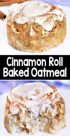 Baked Oatmeal Recipes, Baked Oats, Cinnamon Recipes, Healthy Baked Oatmeal, Vegan Oatmeal, Baked Oatmeal Muffins, Easy Baking Recipes, Cooking Recipes, Amish Recipes