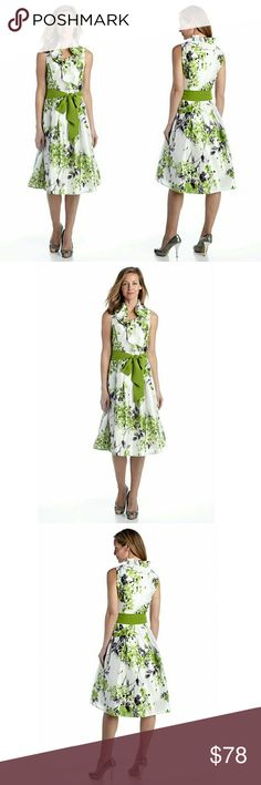 Jessica Howard Ruffle Neckline Floral Dress NWT The ruffle neckline and self tie belt add extra fashionable style to this fit-and-flare dress. With a gorgeous floral print, you will want to wear this dress whenever you get the chance.    	Crossover V-neckline 	Allover floral print  	Tie at waist  	Ruffled collar  	Wrap inspired dress  	Sleeveless 	Lined 	44-inches length 	Polyester 	Machine washable Jessica Howard Dresses