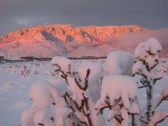 Snow capped Sandia Mountains, NM