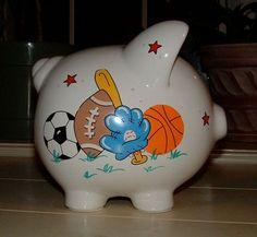 Personalized Boys Sports Piggy Bank Large by PersonalizedbyDina, $23.95