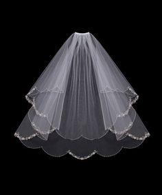 Embroidered Flowers Wedding Veil