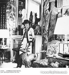 GABRIELLE 'COCO' CHANEL (1883-1971). French fashion designer. Photographed in her suite at the Ritz Hotel in Paris, 1965.